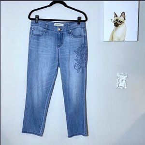 Liverpool The Crop Boyfriend Embroidered Jeans